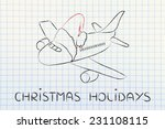 airplane with santa claus hat ... | Shutterstock . vector #231108115