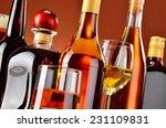 bottles and glasses of assorted ... | Shutterstock . vector #231109831