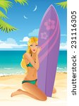 beautiful surfer girl | Shutterstock .eps vector #231116305