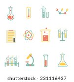 set of flat science icons | Shutterstock .eps vector #231116437