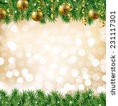 golden fir tree with gradient... | Shutterstock .eps vector #231117301