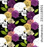 side face white skull floral... | Shutterstock .eps vector #231118501