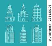 vector set outline buildings... | Shutterstock .eps vector #231130105