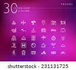 travel outline icons set for...