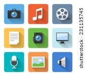 flat multimedia icons. vector...