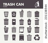 Trash Can. Icons Set In Vector