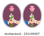 couple of hands hold rose. ... | Shutterstock .eps vector #231140407