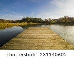 Stock photo footbridge over the autumn lake 231140605