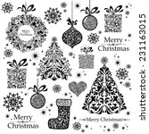 christmas decoration set   lots ... | Shutterstock .eps vector #231163015