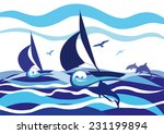 seascape with two sailboats ... | Shutterstock .eps vector #231199894