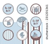baby boy theme circle labels | Shutterstock .eps vector #231201361