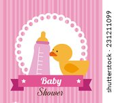 baby shower design over pink... | Shutterstock .eps vector #231211099