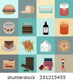 set of flat food icons. simple...   Shutterstock .eps vector #231215455