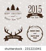 christmas vintage labels | Shutterstock .eps vector #231221041
