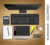 workplace with notebook  pen... | Shutterstock .eps vector #231249007