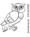 Cute Kind Owl Sitting On The...