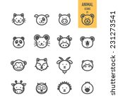 Animal Face Set. Vector...