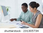 businesswomen working together... | Shutterstock . vector #231305734