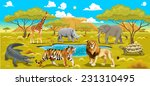 African Landscape With Animals...