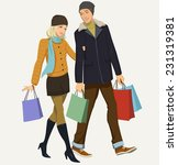 happy couple with shopping | Shutterstock .eps vector #231319381