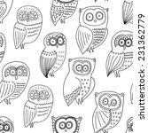 seamless pattern with owl white | Shutterstock .eps vector #231362779