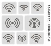 set of monochrome icons with... | Shutterstock .eps vector #231384991