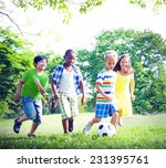 children playing football at... | Shutterstock . vector #231395761