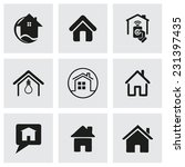 vector home icons set on grey... | Shutterstock .eps vector #231397435