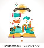 open book with set of vector...