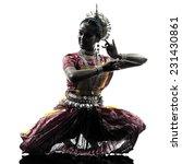 One Indian Woman Dancer Dancing ...