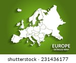 detailed europe map on green... | Shutterstock .eps vector #231436177