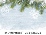old wood texture with snow and... | Shutterstock . vector #231436321