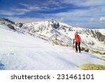 remote mountaineer ascending in ... | Shutterstock . vector #231461101