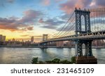 Manhattan Bridge At Sunset