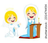 mary praying happy and angel... | Shutterstock . vector #231474454