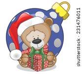 Teddy Bear In A Santa Hat With...