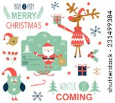 set of christmas lettering and... | Shutterstock .eps vector #231499384