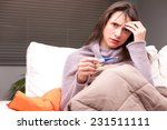 headache and illness of a young ... | Shutterstock . vector #231511111