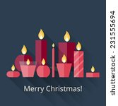 Christmas Card With Candles In...