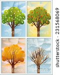 four trees as symbols of the... | Shutterstock . vector #231568069