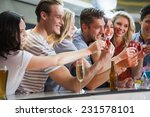 happy friends holding cocktails ... | Shutterstock . vector #231578101