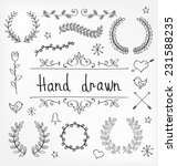 hand drawn vector laurel... | Shutterstock .eps vector #231588235