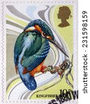 Small photo of UNITED KINGDOM - CIRCA 1980: A stamp printed by GREAT BRITAIN shows Azure kingfisher (Alcedo azurea) - a small brightly colored bird in the order Coraciiformes, circa 1980