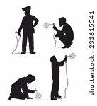 four welders set silhouettes | Shutterstock .eps vector #231615541