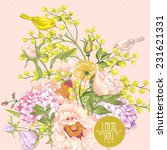 gentle spring floral bouquet... | Shutterstock .eps vector #231621331