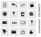 vector cinema icon set  on grey ... | Shutterstock .eps vector #231636025