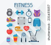 sports and fitness icons set in ... | Shutterstock .eps vector #231655057