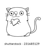 cute cat holding a heart | Shutterstock .eps vector #231685129