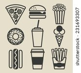 Fast Food Icons Set   Vector...