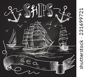 Ship Chalkboard Poster With Se...